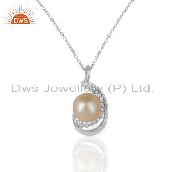 Designer necklace adorn with pearl and cz in rhodium on silver