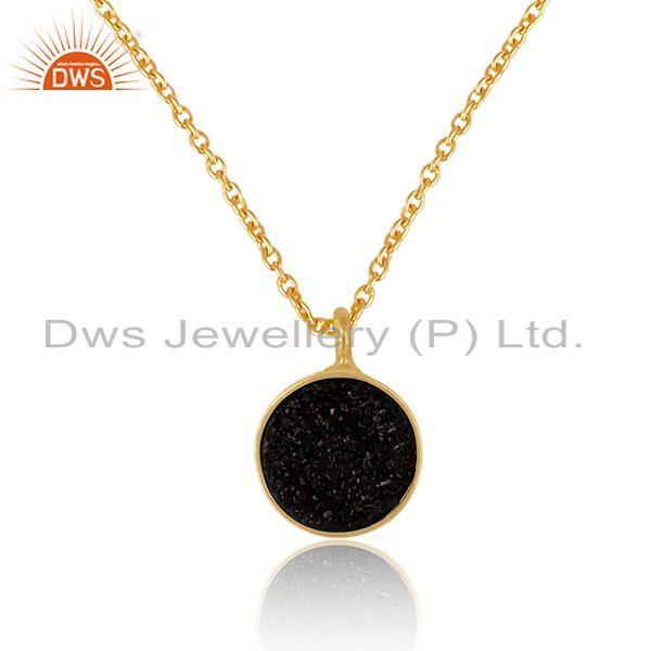 Elegant black druzy pendant necklace in yelow gold on silver 925