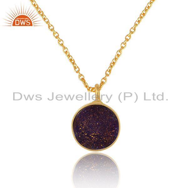 Elegant purple druzy pendant necklace in yelow gold on silver 925