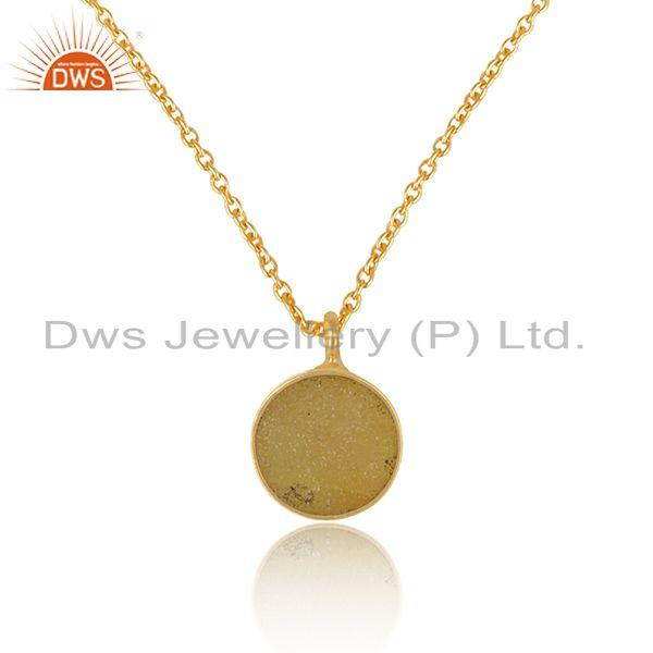 Elegant yellow druzy pendant necklace in yelow gold on silver 925