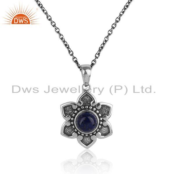 Handmade classic pendant necklace in oxidized silver with lapis
