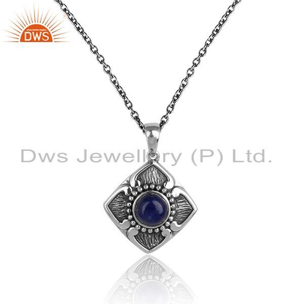 Classic designer pendant necklace in oxidized silver with lapis