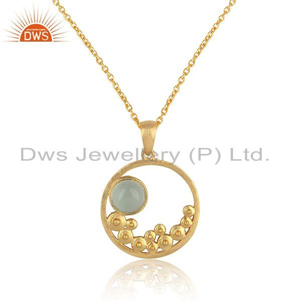 Designer handmade aqua chalcedony necklace in yellow gold on silver