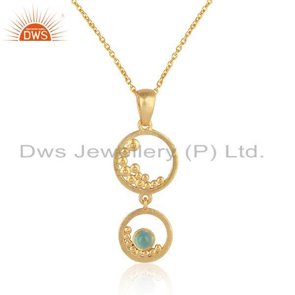 Handmade double dangle aqua chalcedony necklace in gold on silver