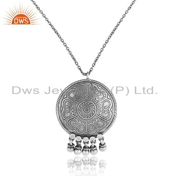 Traditional tribal design textured necklace in oxidized silver 925