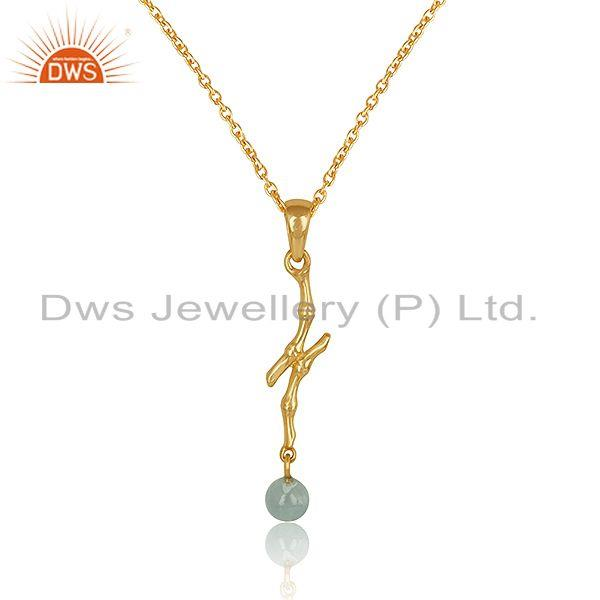 Designer Bamboo Textured Gold on Silver Blue Topaz Necklace Wholesale