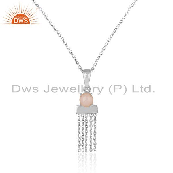 Designer Sterling Silver Bar Chain Necklce with Pink Opal Exporter