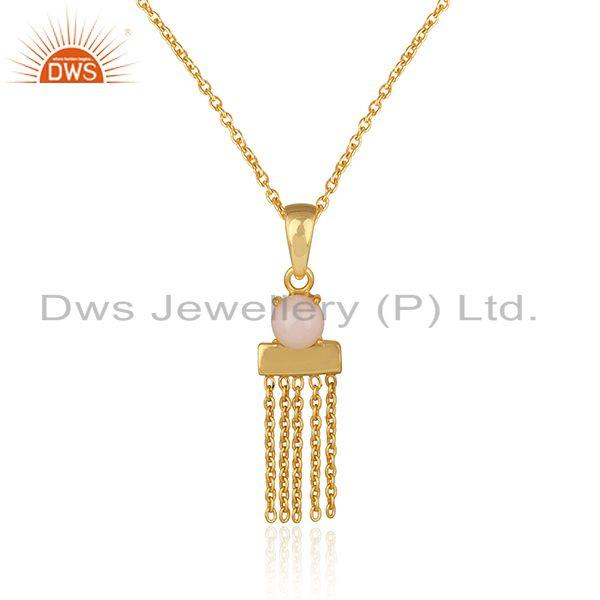 Designer Yellow Gold on Silver Bar Chain Necklce with Pink Opal Exporter