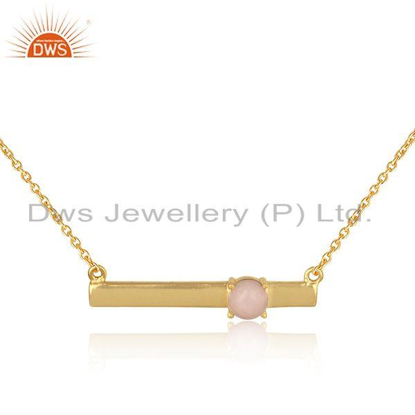 Handmade Dainty 18K Gold on Silver Bar Necklace with Pink Opal Exporter