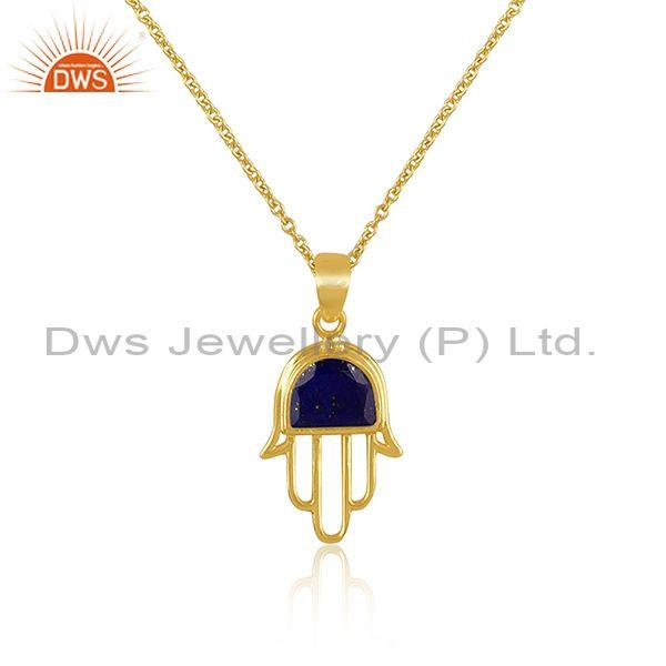 Lapis coin set gold on 925 silver hamsa pendant and necklace