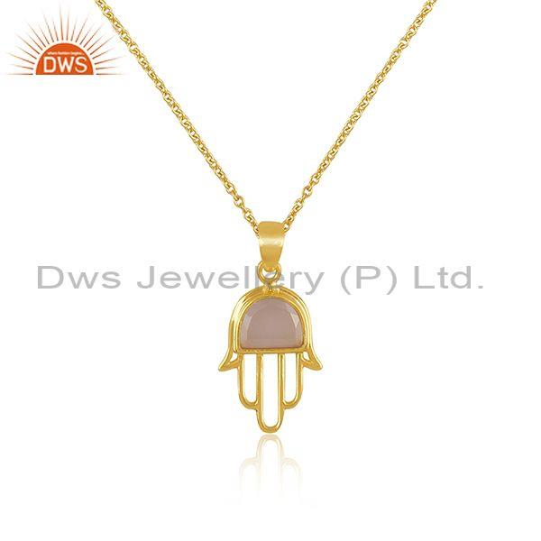 Rose chalcedony coin gold on silver hamsa pendant and chain