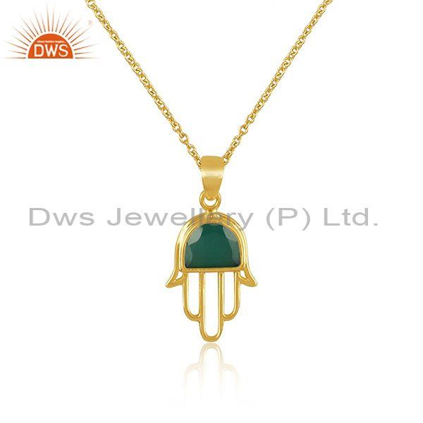 Green onyx coin set gold on silver hamsa pendant and chain