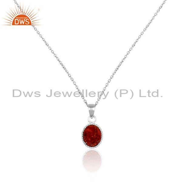 Sponge coral coin set pendant and fine sterling silver chain