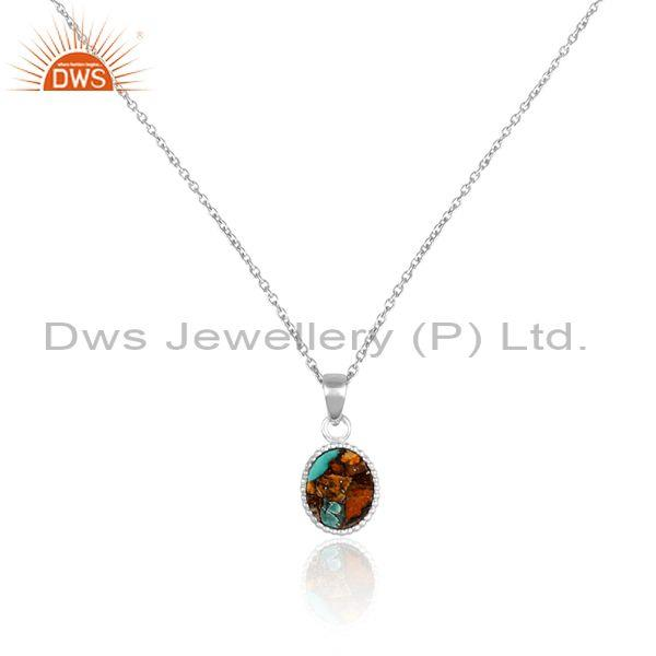 Fine 925 silver mojave copper oyster turquoise coin necklace