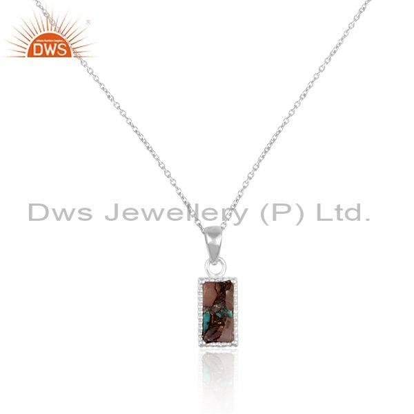 Mojave copper pink opal turquoise coin set fine silver chain