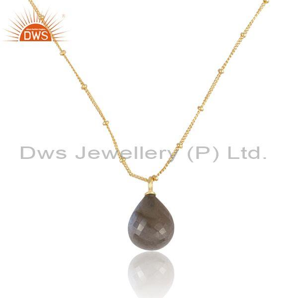 Pear cut labradorite set gold on sterling silver necklace