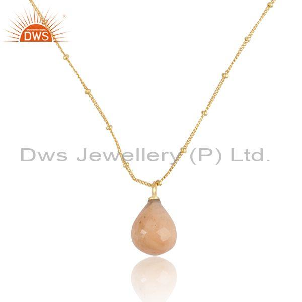 Pink amazonite set gold on sterling silver pendant and chain