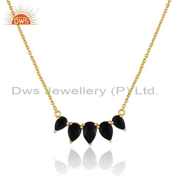 Black onyx set gold on 925 sterling silver pendant and chain
