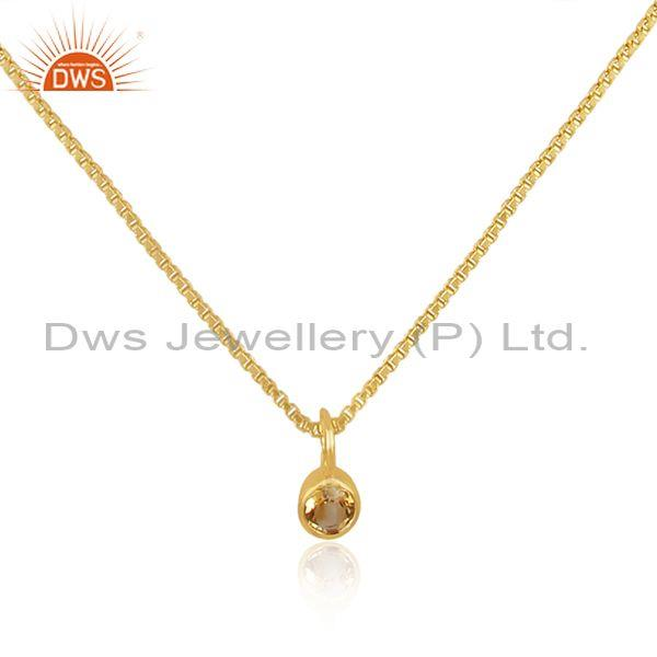 Citrine set gold on 925 sterling silver pendant and necklace