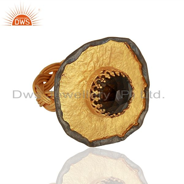 Exporter Designer Gold Plated Silver Smoky Quartz Gemstone Ring Supplier