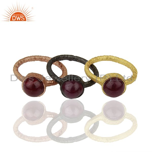 Exporter 18K Gold Plated Sterling Silver Ruby Stacking 3 Pieces Ring Set