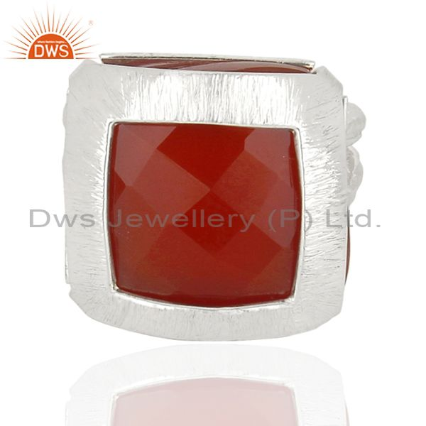 Exporter New Arrival Sterling Silver Red Onyx Gemstone Womens Ring Jewelry