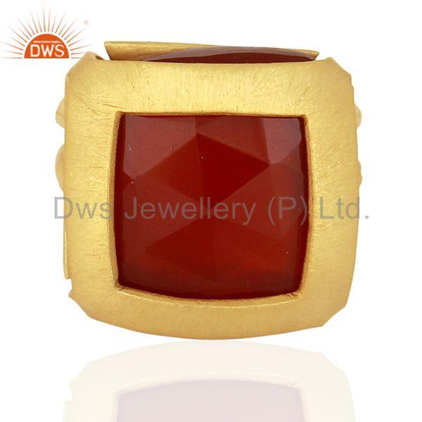 Exporter Womens Gold Plated Silver Natural Red Onyx Gemstone Fashion Ring