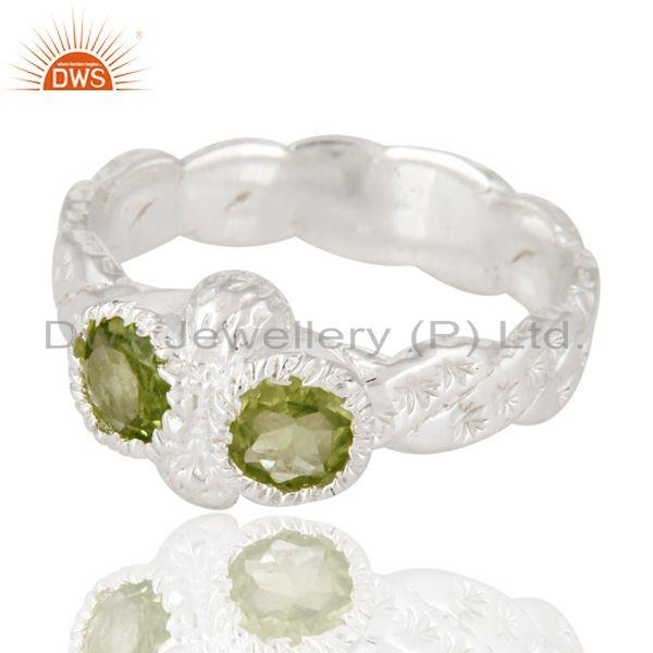 Exporter Indian Hammered Designer 925 Sterling Silver Peridot Gemstone Ring