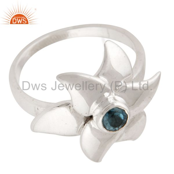 Exporter 925 Sterling Silver Blue Topaz Flower Designer Cocktail Ring