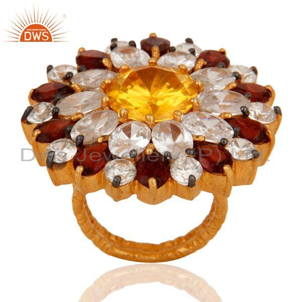 Exporter Natural Garnet, Citrine And CZ Gold Plated Sterling Silver Floral Cocktail Ring