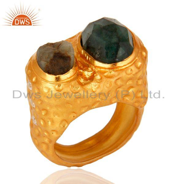 Exporter Textured Design Sterling Silver With 18K Gold Plated Emerald Ring