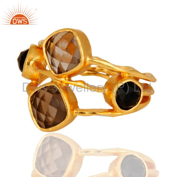 Exporter 14-Carat Yellow Gold Plated Smoky Quartz And Black Onyx Handmade Ring For Women