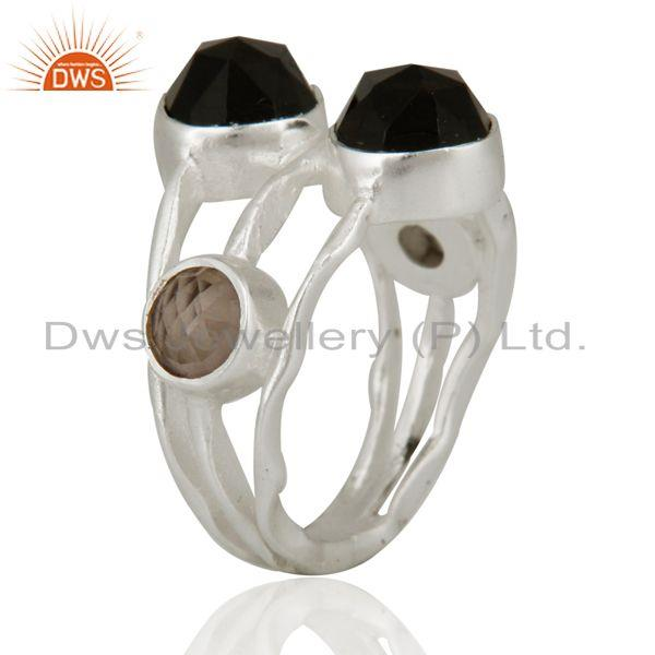 Exporter 925 Sterling Silver Natural Faceted Smoky Quartz Gemstone Ring