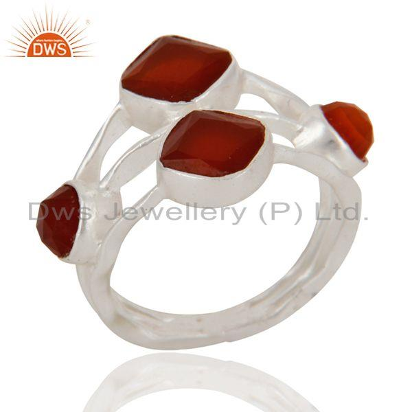 Exporter Handmade Natural Faceted Gemstone Red Onyx 925 Sterling Silver Ring