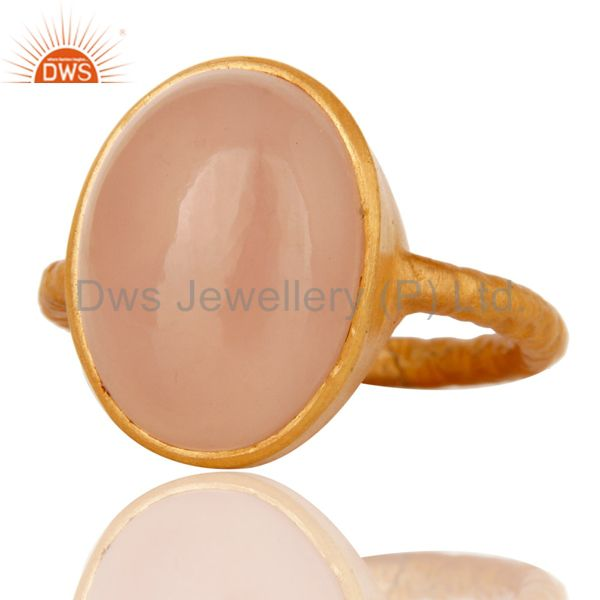 Exporter Handmade 925 Sterling Silver Gold Plated Rose Chalcedony Stackable Ring