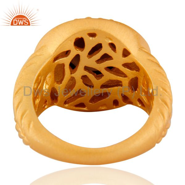 Exporter 24K Yellow Gold Plated Smoky Quartz Sterling SIlver Matte Finish Ring Sz 7.5 US