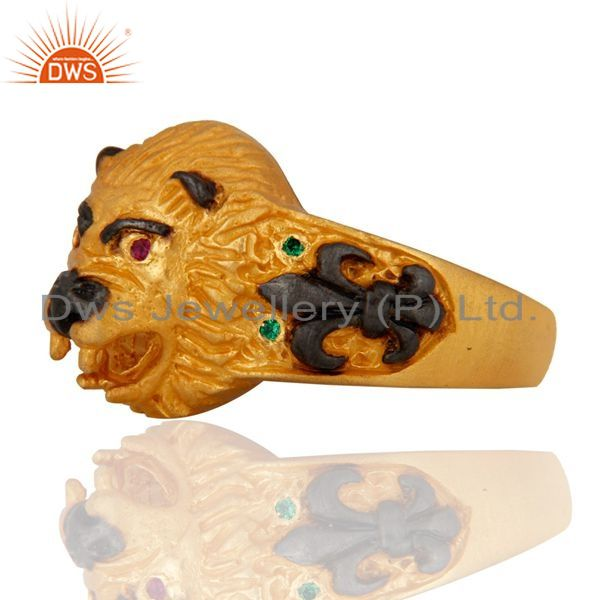 Exporter Genuine Cubic Zirconia Sterling Silver Gold Plated Lion Head Mens Ring Jewelry