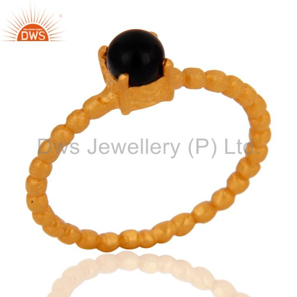 Exporter 18K Yellow Gold Plated Sterling Silver Black Onyx Prong Set Stacking Ring