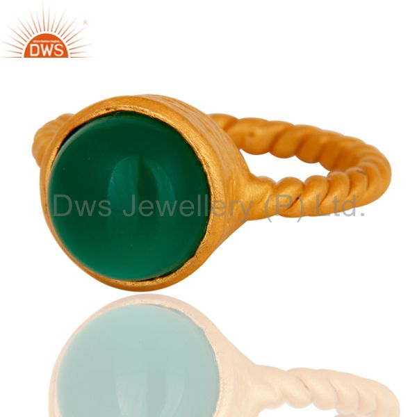 Exporter Natural Green Onyx Yellow Gold Plated Sterling Silver Womens Ring Size 7