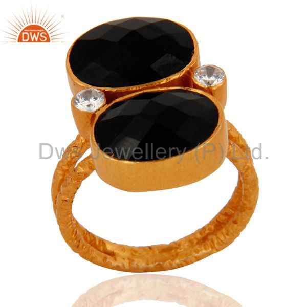 Exporter Handmade 18K Gold Plated 925 Sterling Silver Black Onyx Gemstone Ring With CZ