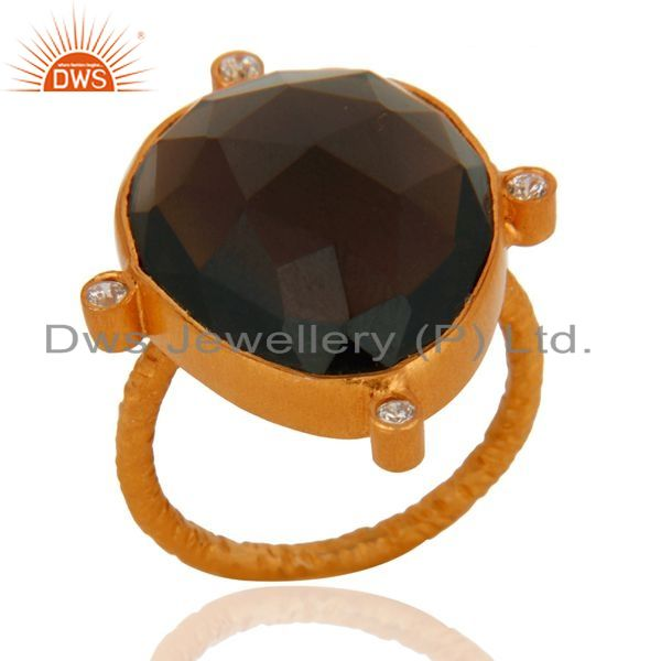 Exporter 18K Yellow Gold Plated Sterling Silver Smoky Quartz Stacking Ring With CZ