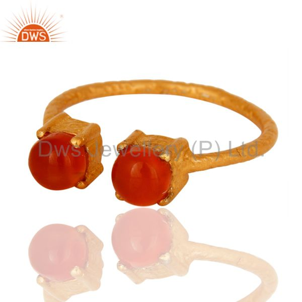 Exporter Natural Carnelian Gemstone Solid Sterling Silver Adjustable Ring - Gold Plated