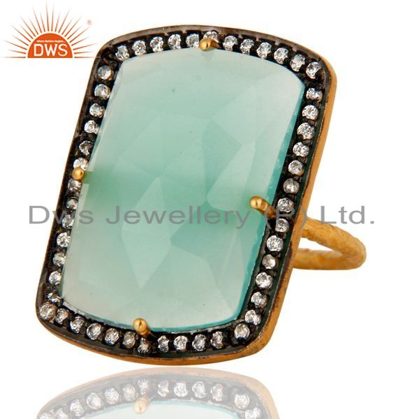 Wholesalers Aqua Blue Chalcedony Glass Stack Ring Made In 18K Gold Over Sterling Silver