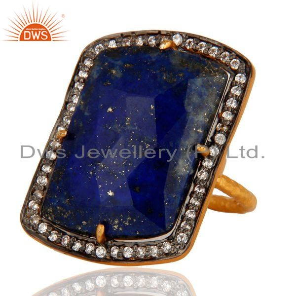 Exporter Gold Plated Sterling Silver Lapis Lazuli Gemstone Prong Set Ring W/ CZ Surround