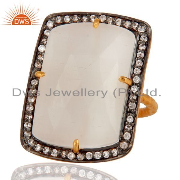 Exporter Designer White Moonstone 925 Sterling Silver Gold Plated Stackable Ring With CZ