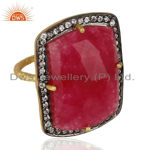 Exporter 925 Sterling Silver Gold Plated Red Onyx Faceted Gemstone Ring With Pave CZ