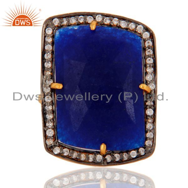Exporter 18K Gold Plated 925 Sterling Silver Faceted Semi-Precious Blue Aventurine Ring