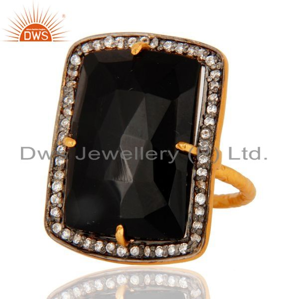 Exporter Handmade Black Onyx Gemstone Sterling Silver With Gold Plated Ring
