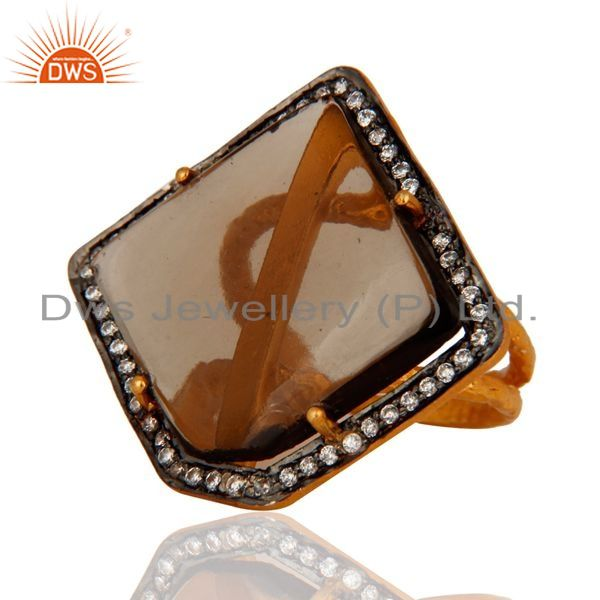 Exporter Designer Smoky Quartz Ring Crafted In Sterling Silver With Gold Plated