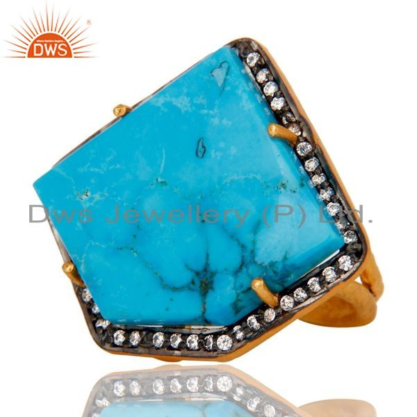 Exporter Designer Turquoise Ring Crafted In Sterling Silver With Gold Plated